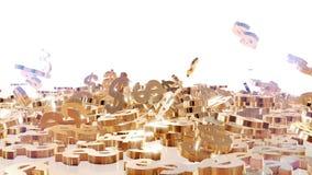 tolkning 3d av fallande tecken av dollar Arkivbilder