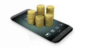 tolkning 3D av guld- Bitcoin buntar på smartphones skärm Royaltyfri Bild