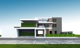 tolkning 3D av huset med den snabba banan Arkivfoto