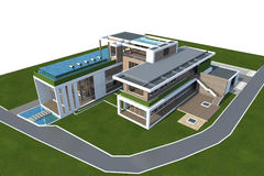 tolkning 3D av huset som isoleras på vit med den snabba banan Arkivbild
