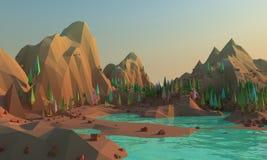 tolkning 3d av lågt poly landskapwhithberg och vatten på förgrund stock illustrationer