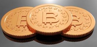 tolkning 3D av myntet Bitcoin royaltyfri illustrationer