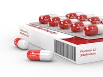 tolkning 3d av preventivpillerar för vitamin B2 i blåsapacke Arkivbild
