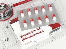 tolkning 3d av preventivpillerar för vitamin B2 i blåsapacke Arkivfoto