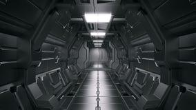 tolkning 3D av realistisk bakgrund för vetenskap för science fictionrymdskeppkorridor stock illustrationer