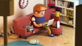 tolkning 3d av sammanträde för ung man på en soffa och arbete på bärbara datorn royaltyfri illustrationer