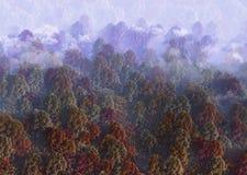 tolkning 3d av sikten av den rökiga kullen i höst solig dagskogliggande stock illustrationer