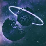 tolkning 3D av skapelsen av planeter i djupt utrymme stock illustrationer