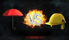 tolkning 3d av stora bokstäver VS på brandställning mellan ett öppet rött paraply och en stor gul konstruktionshjälm Royaltyfri Foto