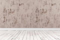 tolkning 3d av tomt rum med trägolv Arkivbild