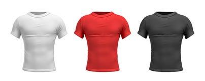 tolkning 3d av tre manliga T-tröja i främre sikt för realistisk slank torso i röda och svarta färger för vit, Fotografering för Bildbyråer
