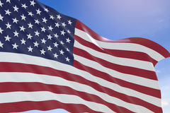 tolkning 3D av USA flaggan som vinkar på bakgrund för blå himmel Royaltyfria Bilder