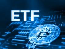 tolkning 3D av utbyte handlad fondETF text och Bitcoin BTC på glödande abstrakt lett data- och strömkretsdiagram stock illustrationer