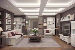 tolkning 3D av vardagsrum av en klassisk lägenhet Royaltyfri Bild