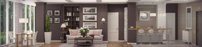 tolkning 3D av vardagsrum av en klassisk lägenhet Arkivfoto