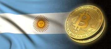 tolkning 3D: Bitcoin cryptocurrencymynt med nationsflaggan av Argentina royaltyfri illustrationer