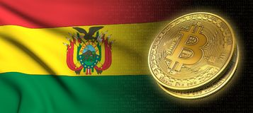 tolkning 3D: Bitcoin cryptocurrencymynt med nationsflaggan av Bolivia stock illustrationer