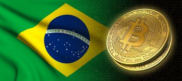 tolkning 3D: Bitcoin cryptocurrencymynt med nationsflaggan av Brasilien royaltyfri illustrationer