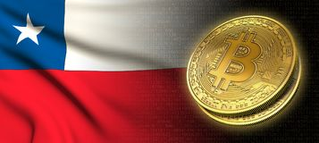 tolkning 3D: Bitcoin cryptocurrencymynt med nationsflaggan av Chile royaltyfri illustrationer