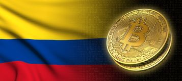 tolkning 3D: Bitcoin cryptocurrencymynt med nationsflaggan av Colombia Royaltyfri Fotografi