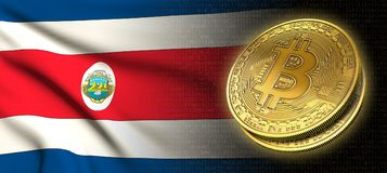 tolkning 3D: Bitcoin cryptocurrencymynt med nationsflaggan av Costa Rica Arkivbild