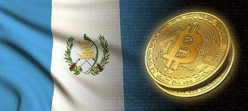 tolkning 3D: Bitcoin cryptocurrencymynt med nationsflaggan av Guatemala stock illustrationer