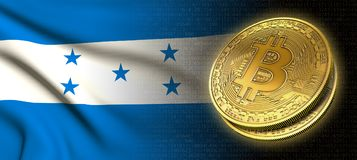 tolkning 3D: Bitcoin cryptocurrencymynt med nationsflaggan av Honduras stock illustrationer