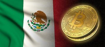 tolkning 3D: Bitcoin cryptocurrencymynt med nationsflaggan av Mexico royaltyfri illustrationer
