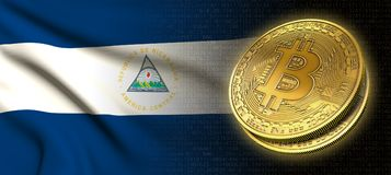 tolkning 3D: Bitcoin cryptocurrencymynt med nationsflaggan av Nicaragua vektor illustrationer