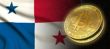 tolkning 3D: Bitcoin cryptocurrencymynt med nationsflaggan av Panama royaltyfri illustrationer