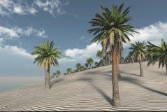tolkning 3D från en strandplats med kokosnötpalmträd och ett oean i bakgrunden Royaltyfri Fotografi