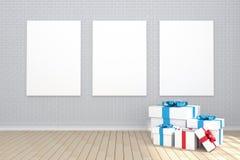 tolkning 3D: illustration av affisch som tre hänger på väggen i tomt rum Tegelstenvägg och trägolv för din text och bild Arkivbilder