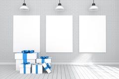 tolkning 3D: illustration av affisch som tre hänger på väggen i tomt rum Tegelstenvägg och trägolv för din text och bild Royaltyfria Bilder