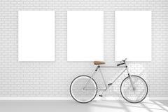 tolkning 3D: illustration av affischen för tre vit som hänger på väggen i tomt rum utrymme för din text och bild Arkivfoto