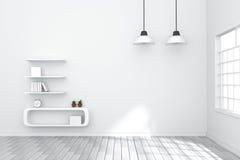 tolkning 3D: illustration av den hemtrevliga vardagsruminre med hyllan för vit bok mot den matt vita väggen naturligt ljus utifrå stock illustrationer