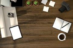 tolkning 3D: illustration av den moderna idérika arbetsplatsen för bästa sikt minnestavla med den snabba banan för vit skärm på d Vektor Illustrationer