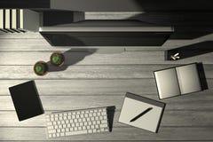 tolkning 3D: illustration av den moderna idérika arbetsplatsen för bästa sikt PCbildskärm på den vita trätabellen solljus som uti Royaltyfri Foto