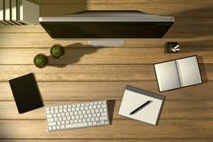 tolkning 3D: illustration av den moderna idérika arbetsplatsen för bästa sikt PCbildskärm på trätabellen solljus som skiner från  Royaltyfri Illustrationer