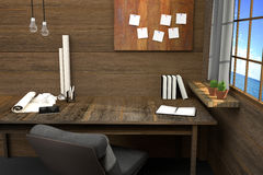 tolkning 3D: illustration av den moderna idérika arbetsplatsen hjälpmedel på trätabellen och trärum Gardin och fönster Royaltyfri Illustrationer