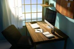 tolkning 3D: illustration av den moderna idérika arbetsplatsen PCbildskärm på trätabellen genomskinlig gardin och glass fönster Stock Illustrationer