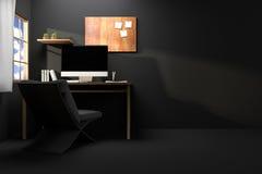 tolkning 3D: illustration av den moderna idérika arbetsplatsen PCbildskärm på trätabellen genomskinlig gardin och glass fönster Royaltyfri Illustrationer