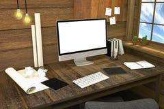 tolkning 3D: illustration av den moderna idérika arbetsplatsen PCbildskärm på trätabellen och trärum Royaltyfri Foto