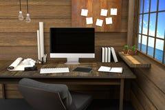 tolkning 3D: illustration av den moderna idérika arbetsplatsen PCbildskärm på trätabellen och trärum Arkivfoto