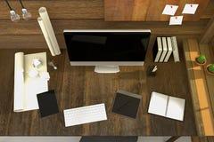 tolkning 3D: illustration av den moderna idérika arbetsplatsen PCbildskärm på trätabellen och trärum Royaltyfri Fotografi