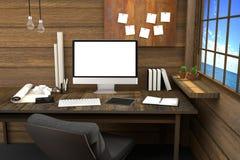 tolkning 3D: illustration av den moderna idérika arbetsplatsen PCbildskärm på trätabellen och trärum Stock Illustrationer