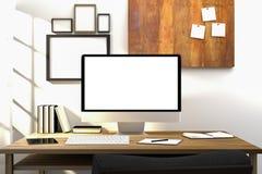 tolkning 3D: illustration av den moderna idérika arbetsplatsmodellen PCbildskärm på trätabellen genomskinlig gardin och glass fön Arkivfoto