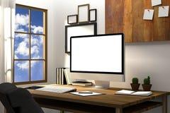 tolkning 3D: illustration av den moderna idérika arbetsplatsmodellen PCbildskärm på trätabellen genomskinlig gardin och glass fön Royaltyfri Foto