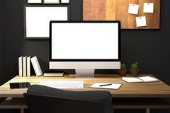 tolkning 3D: illustration av den moderna idérika arbetsplatsmodellen PCbildskärm på trätabellen genomskinlig gardin och glass fön Stock Illustrationer