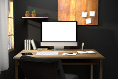 tolkning 3D: illustration av den moderna idérika arbetsplatsmodellen PCbildskärm på trätabellen wi för genomskinlig gardin och fö Royaltyfria Foton