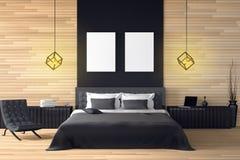 tolkning 3D: illustration av den moderna trähusinre sängrumdel av huset Rymligt sovrum i wood stil Arkivbild